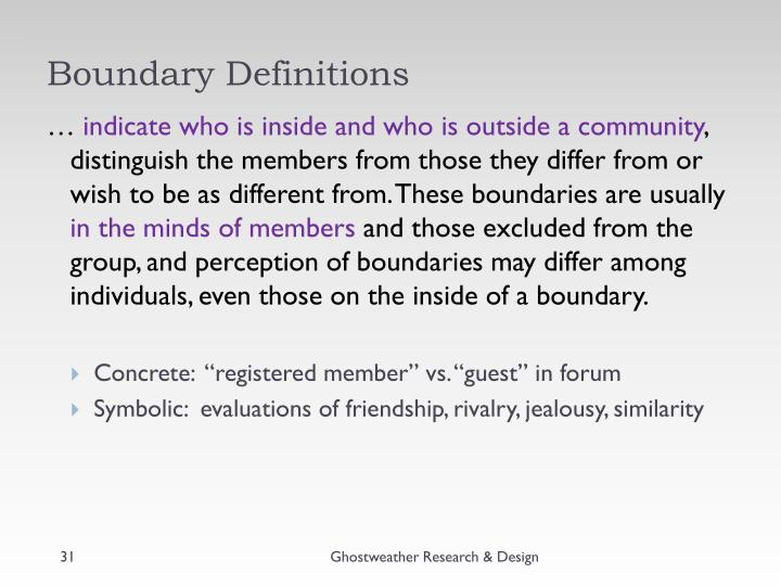 Boundary Definitions