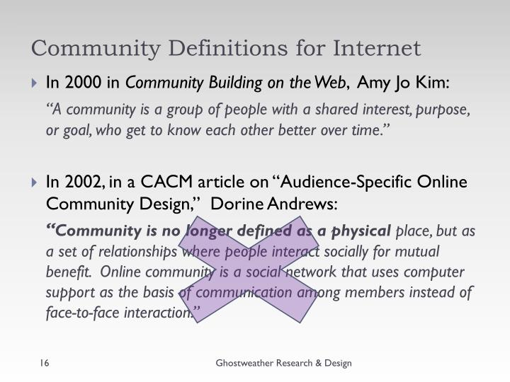 Community Definitions for Internet