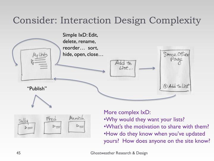 Consider: Interaction Design Complexity