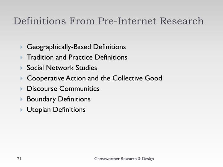 Definitions From Pre-Internet Research