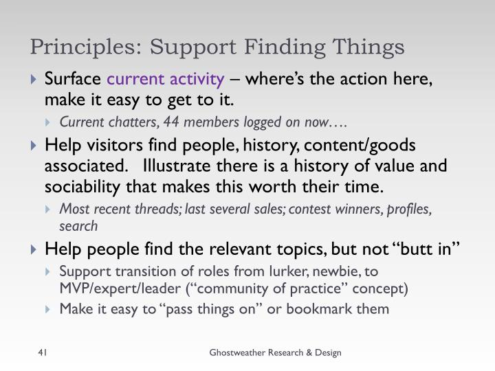 Principles: Support Finding Things