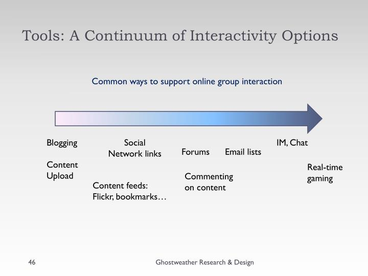 Tools: A Continuum of Interactivity Options