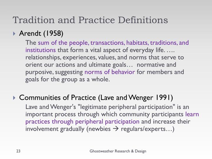Tradition and Practice Definitions