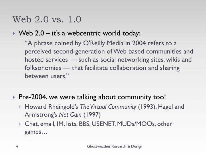 Web 2.0 vs. 1.0