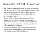 weaknesses internal d emand side