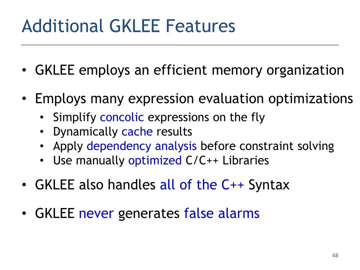 Additional GKLEE Features