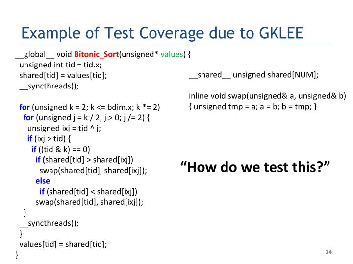 Example of Test Coverage due to GKLEE