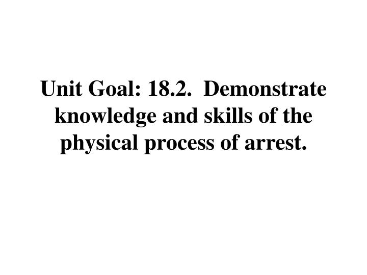 Unit Goal: 18.2.  Demonstrate knowledge and skills of the physical process of arrest.