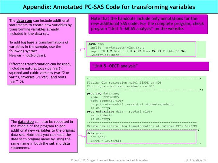 Appendix: Annotated PC-SAS Code for transforming variables
