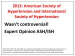 2013 american society of hypertension and international society of hypertension