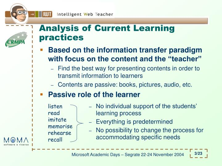 Analysis of current learning practices