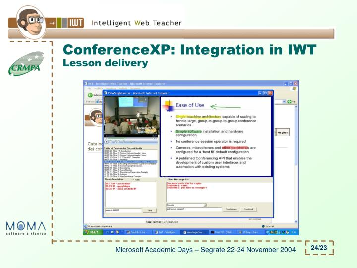 ConferenceXP: Integration in IWT