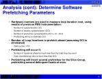 analysis cont determine software prefetching parameters