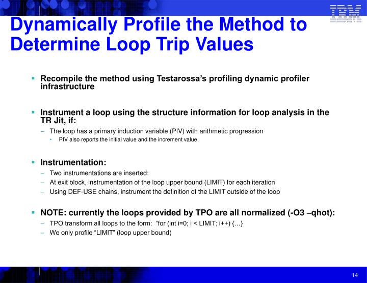 Dynamically Profile the Method to Determine Loop Trip Values