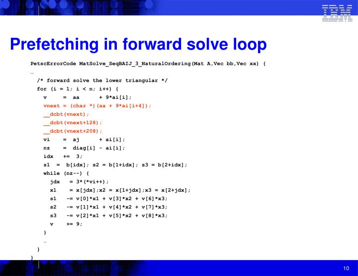 Prefetching in forward solve loop
