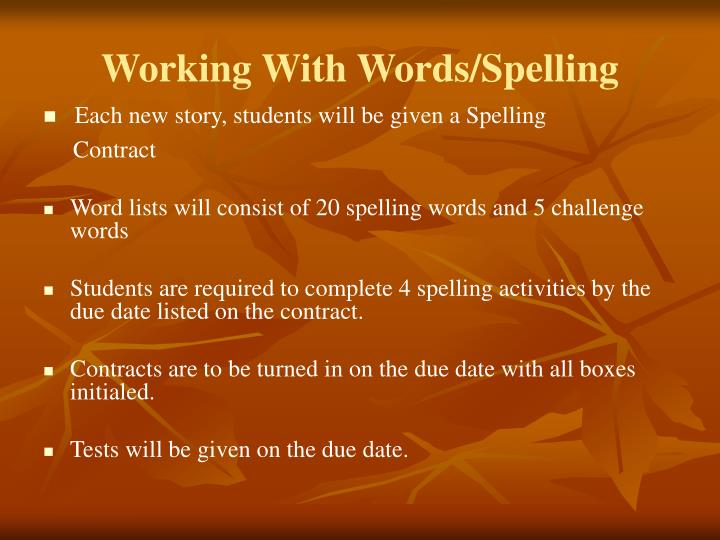 Working With Words/Spelling