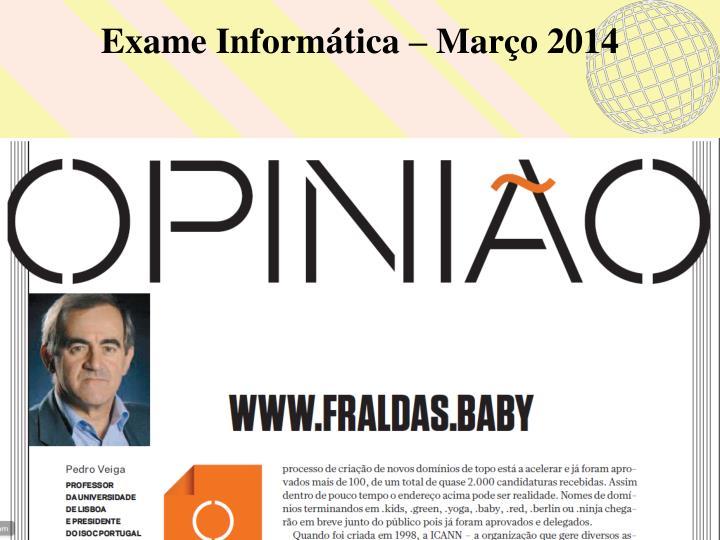Exame Informática – Março 2014