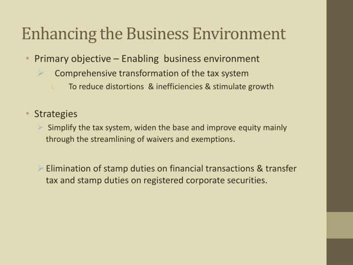 Enhancing the Business Environment