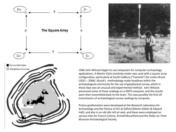 """1966 John Wilcock began to use computers for computer archaeology applications. A Martin-Clark resistivity meter was used with a square array configuration, particularly at South Cadbury (""""Camelot"""") for Leslie Alcock (1925 – 2006). Alcock's  methodology made headlines within the archaeological community for the use of geophysical survey, which in those days was an unusual and experimental method.  John Wilcock processed some of these readings on a KDF9 computer, and the results were then transmitted back to the team. This was possibly the first UK transmission of archaeological survey readings by computer."""