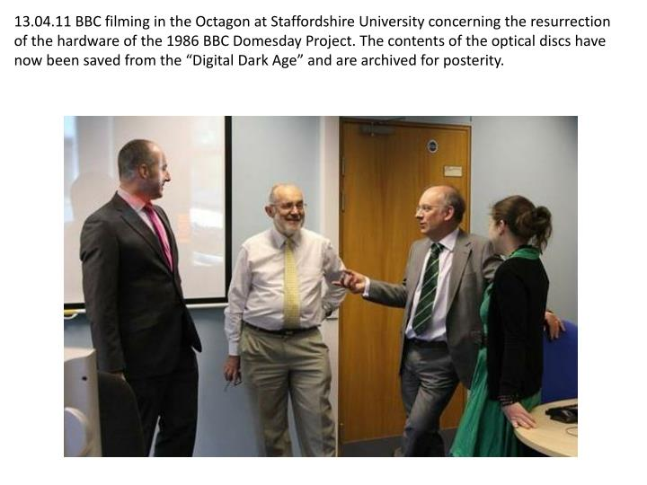 """13.04.11 BBC filming in the Octagon at Staffordshire University concerning the resurrection of the hardware of the 1986 BBC Domesday Project. The contents of the optical discs have now been saved from the """"Digital Dark Age"""" and are archived for posterity."""