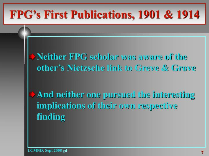 FPG's First Publications, 1901 & 1914