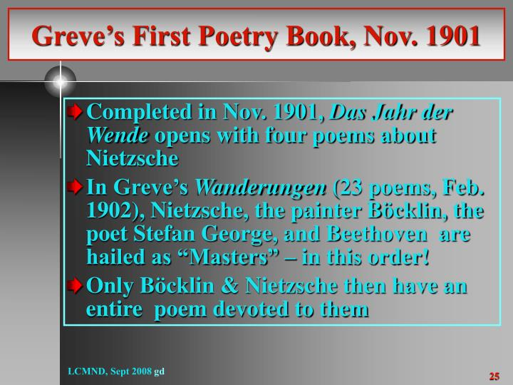Greve's First Poetry Book, Nov. 1901
