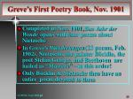 greve s first poetry book nov 1901