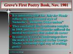 greve s first poetry book nov 19011