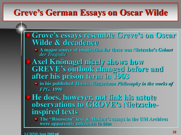 Greve's German Essays on Oscar Wilde