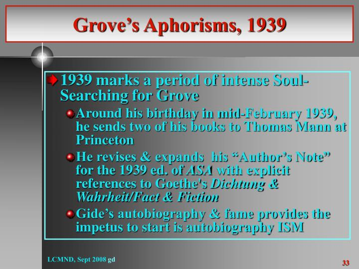 Grove's Aphorisms, 1939