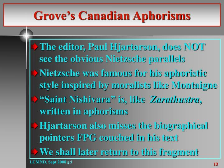 Grove's Canadian Aphorisms