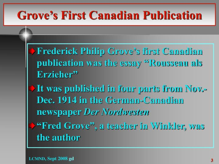 Grove s first canadian publication