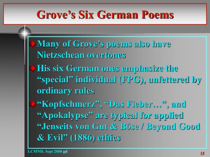 Grove's Six German Poems