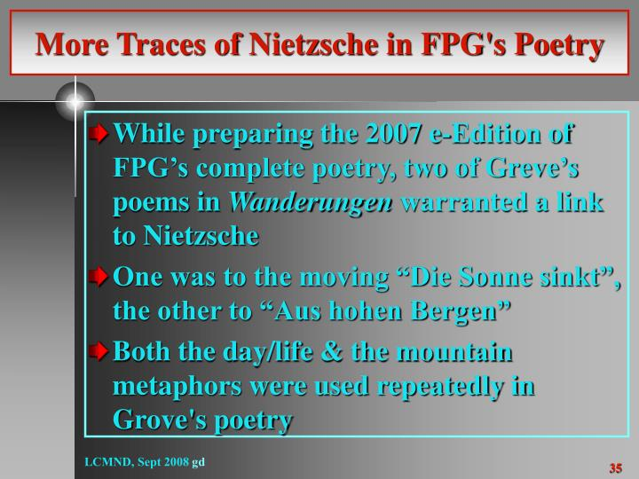 More Traces of Nietzsche in FPG's Poetry