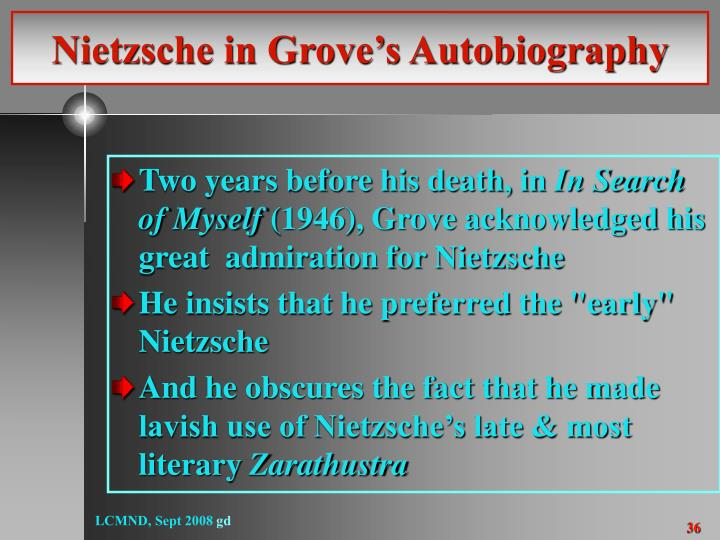 Nietzsche in Grove's Autobiography