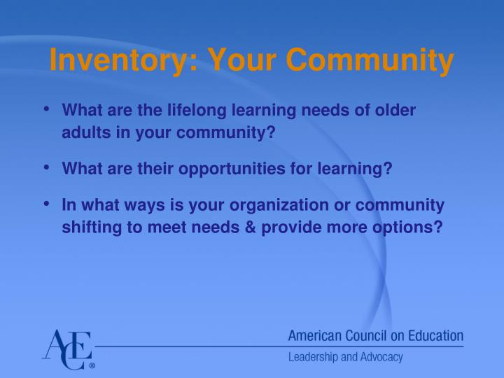 Inventory: Your Community