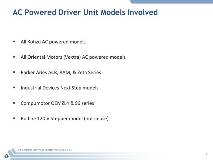 AC Powered Driver Unit Models Involved