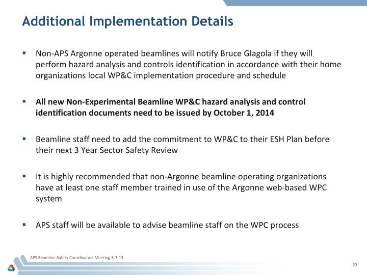 Additional Implementation Details