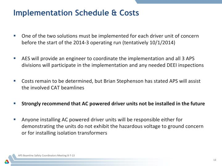 Implementation Schedule & Costs