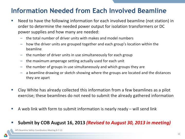 Information Needed from Each Involved Beamline
