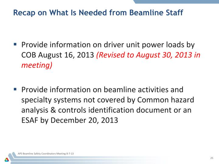 Recap on What Is Needed from Beamline Staff