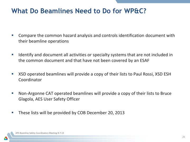 What Do Beamlines Need to Do for WP&C?