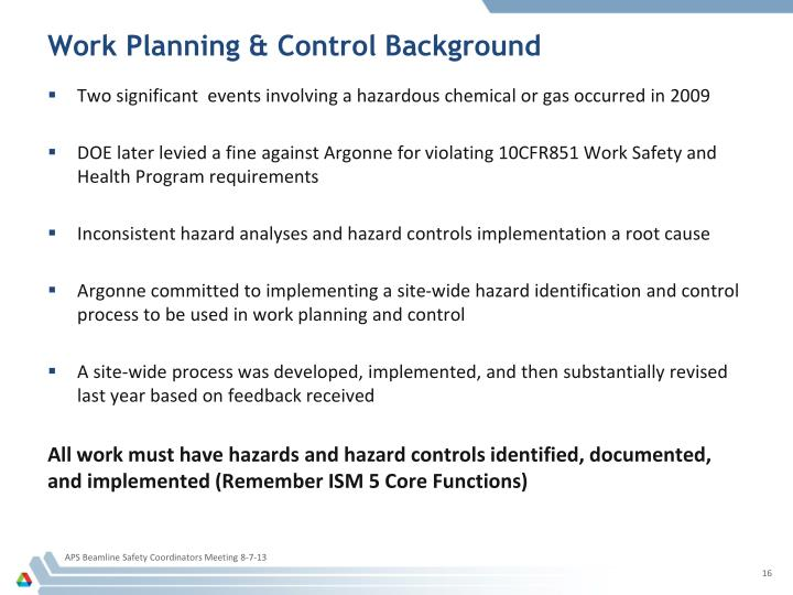 Work Planning & Control Background