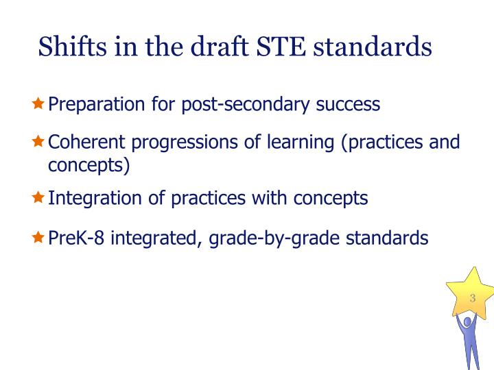 Shifts in the draft ste standards