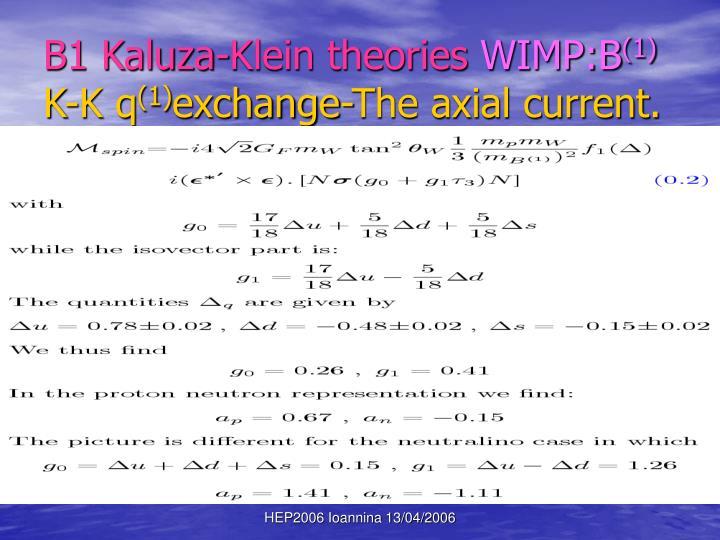 B1 Kaluza-Klein theories