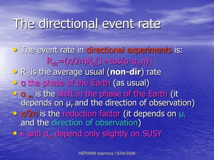 The directional event rate