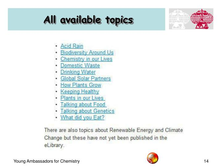 All available topics