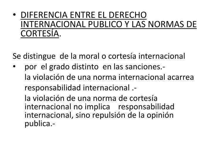 DIFERENCIA ENTRE EL DERECHO INTERNACIONAL PUBLICO Y LAS NORMAS DE CORTESÍA