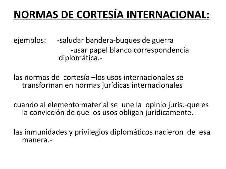 NORMAS DE CORTESÍA INTERNACIONAL