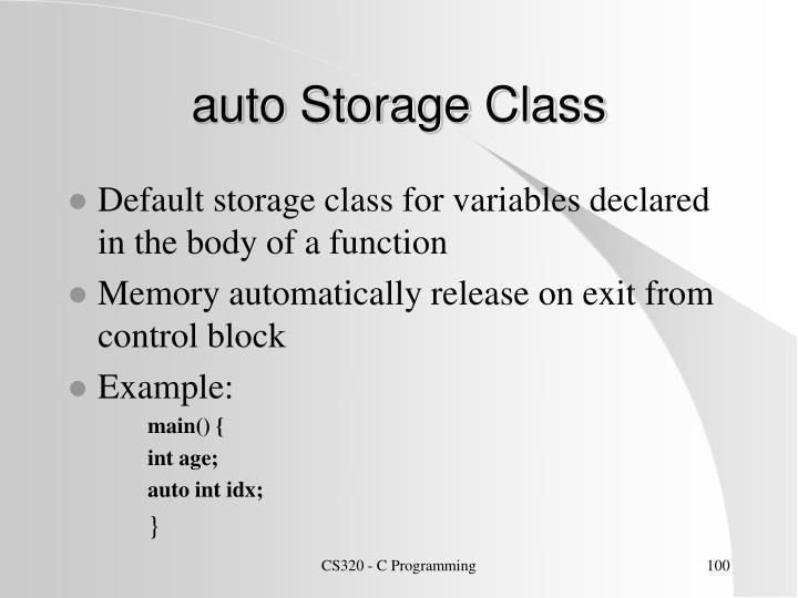 auto Storage Class